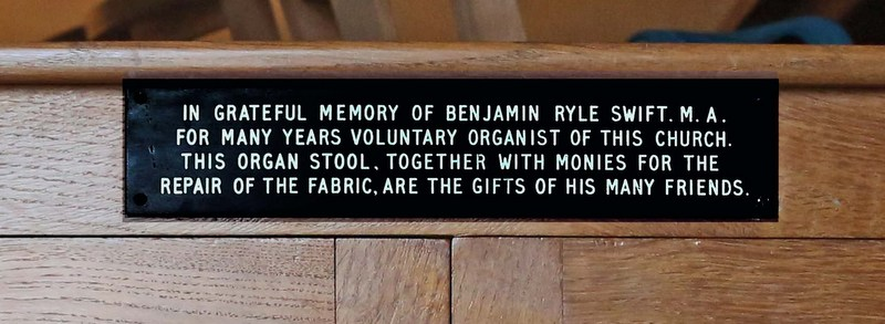 Organ stool - inscription detail.