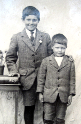 Fred Mason, aged 14, and his brother, Harry.  The photograph was taken just before Fred left school.
