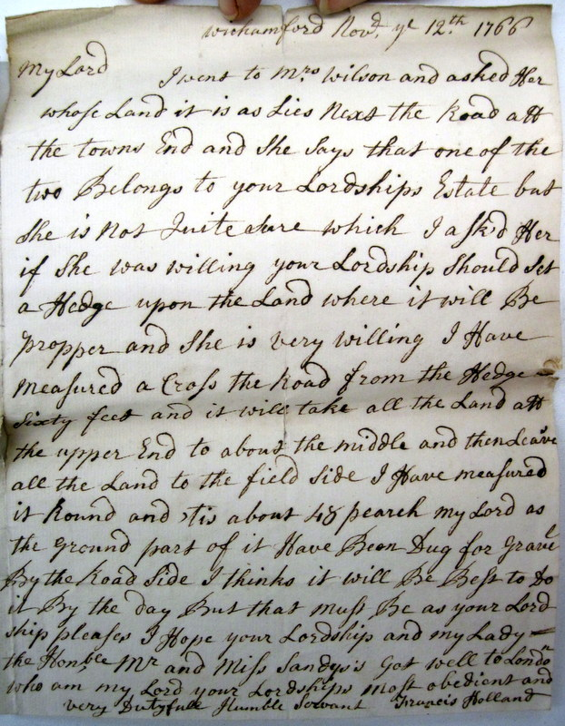 Letter sent to Lord Sandys in London on 12th November 1766