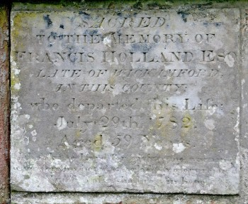 Francis Holland of Wickhamford d. 1782, aged 59 years