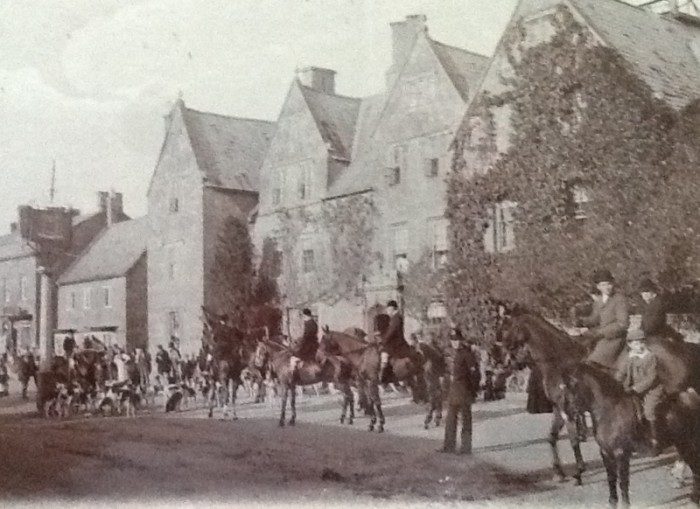 Walter Cyril Idiens, far right on the pony, riding to hounds in Broadway, around 1900.