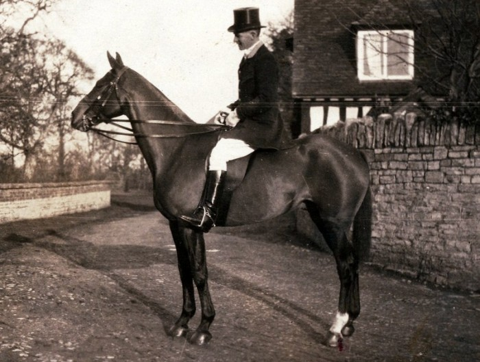 George Lees-Milne outside of the Manor on his hunter