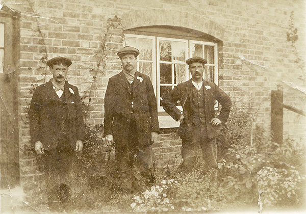In this group of men, George Pitts is thought to be on the left. (Charles Mason is on the right, the name of the other man is unknown.)