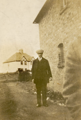 Charles Halford pictured on Pitchers Hill, with the Council Houses in the background.