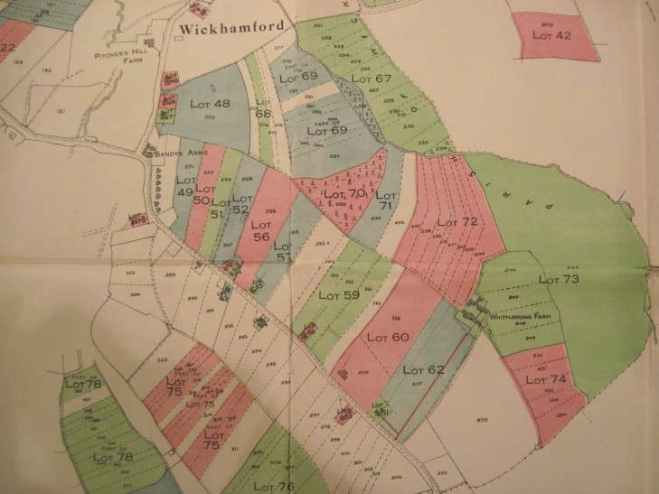 Map of part of the village accompanying the 1930 Wickhamford Estate sale particulars.