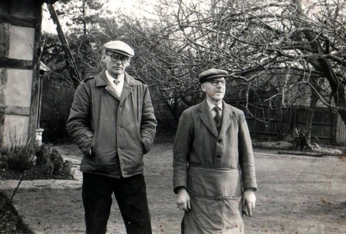 Richard Lees-Milne and Norris Haines in the garden of Hody's Place in about 1968.