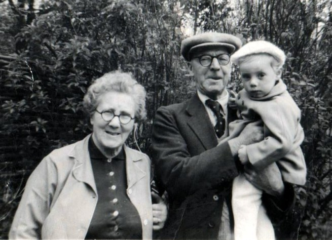 An elderly Florence and Norris Haines with their grandson, John Haines.  Norris died in 1974 and Florence in 1981.