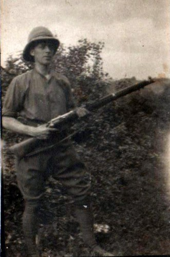 Private Norris Haines with rifle in Northern Italy during the Great War.