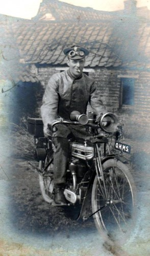 Private Norris Haines on a motor-bike in France during the Great War.