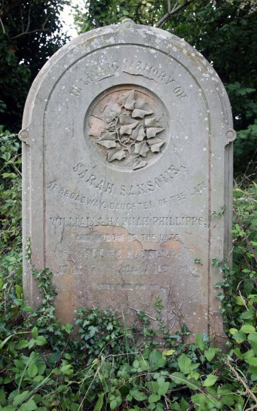 The grave of Sarah Sansome  nee  Phillipps, John's older sister, also in Buckland churchyard.