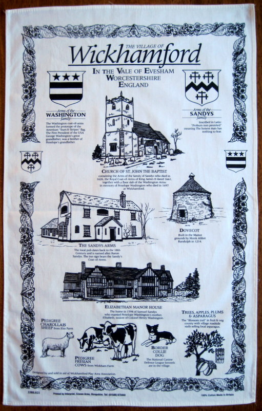 The Tea Towel produced in 1995 and sold to raise funds for the Wickhamford Play Area Association