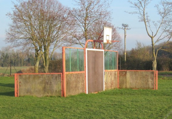The Sports Wall erected on the recreation ground – (photographed in January 2015).