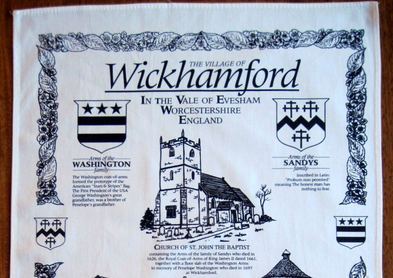 Detail 1 – Wickhamford Church and the Arms of the Sandys and Washington families.