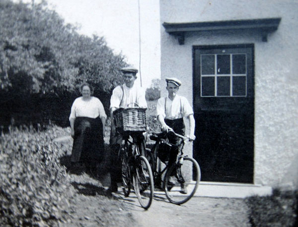 Mary Robbins with sons-in-law Horace Feeney and Fred Lambourn outside No 1 Council Houses.