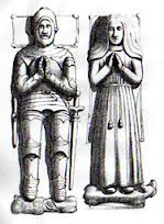 The tomb effigies of William and Margaret Sandys in Hawkeshead Church