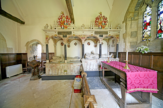 The ornate Sandys tombs in the Chancel of Wickhamford Church