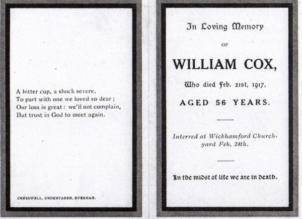 Service book for the funeral of William Cox