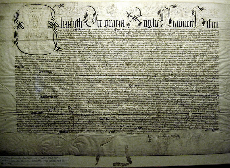 The 1562 document granting the Manor to Thomas Throckmorton by Queen Elizabeth