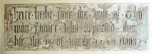 here lieth Jane the Wife of Thomas Sponer who departed this life the 10 of March 1584 etatis 74  (Memorial Tablet in Wickhamford Church)