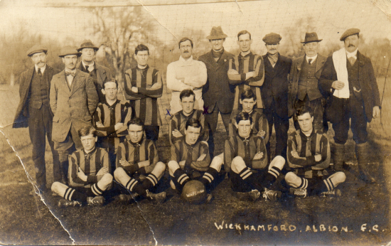 Wickhamford Albion team and support staff, possibly in the 1909/10 season.