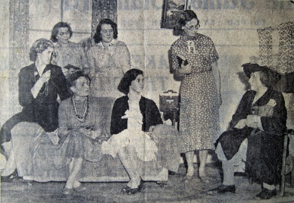 "A production of ""Just Before Tea"" in the Memorial Hall on 16th January 1956."