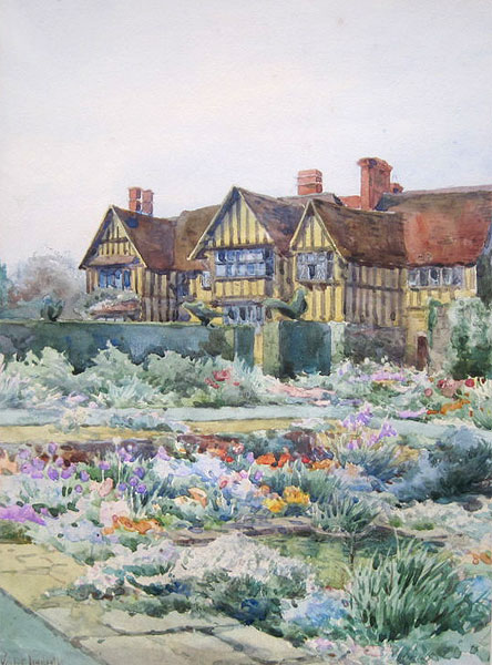 Oil painting of the sunken garden by Violet Lindsell. This probably dates from the 1930s. It shows the house with three gables, which is still has today as can be seen from this photograph taken in 2010.