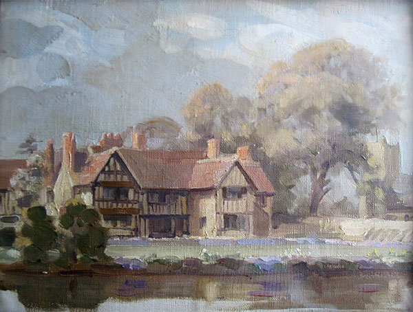 Wickhamford Manor, Spring 1927 by James Barraclough. Note the change in pattern on the right hand gable which is said to have happened in 1923. A photograph taken in 1925 shows a similar appearance.