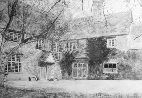 Pencil drawing of the front of the Manor - date/artist unknown.