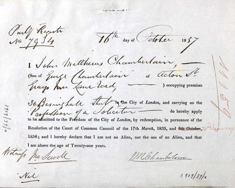 The application of John Matthews Chamberlain for Freedom of the City of London in October 1857