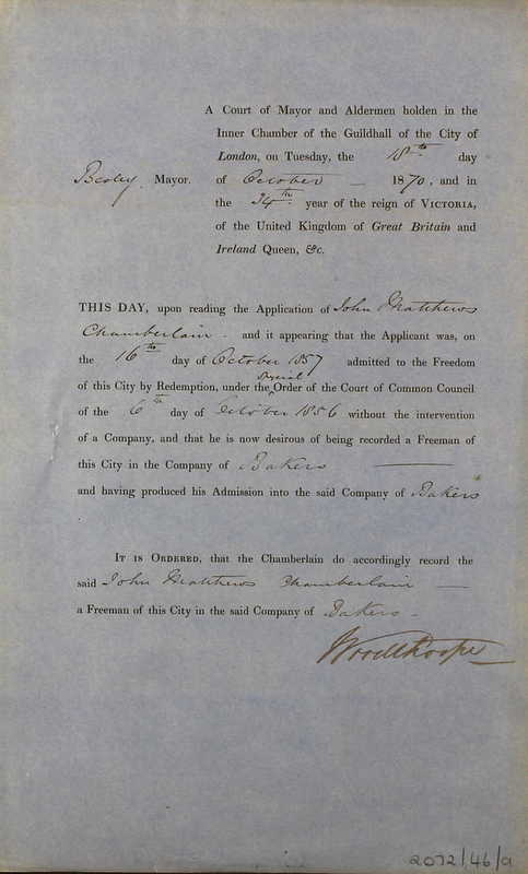 The appointment of John Matthews Chamberlain as a Freeman of the City of London in October 1857