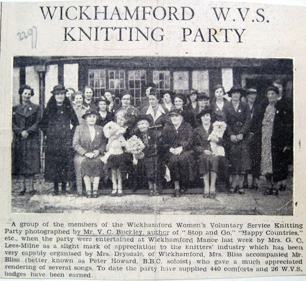 Bertha Drysdale, seated in the centre of the front row, in a 1940 cutting from the Evesham Journal
