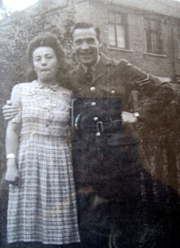 Jack Haines as a corporal in the R.A.F. with his wife, Ann, in about 1944.