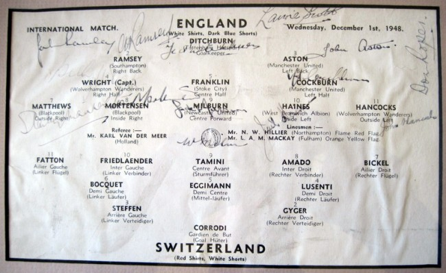 A page from the England versus Switzerland match in 1948 with the signatures of the England team, including Haines at inside left.