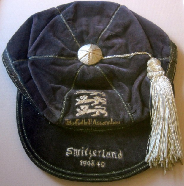 The England cap awarded to Jack Haines for his England appearance on 2nd December 1948.