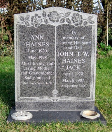 The grave of Jack and Ann Haines in Wickhamford Cemetery, with the appropriate epithet:-   'A Sporting Life'.