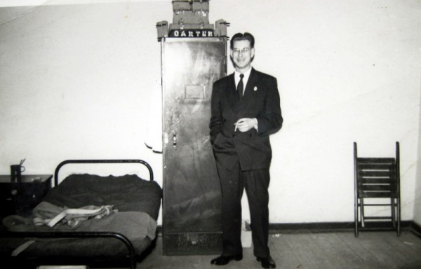 Maurice Carter in his barrack room - undated