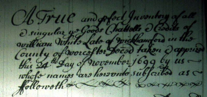 The introduction to the Inventory of William White's Will