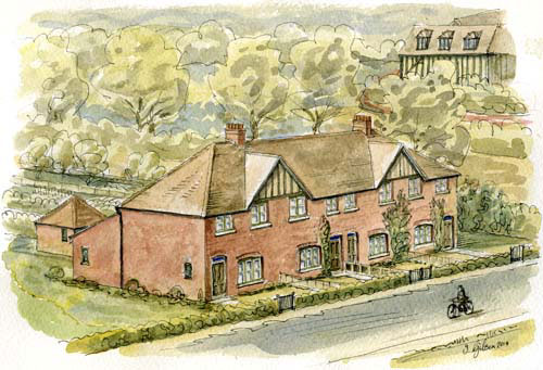 In 2014 local artist Ian Gibson painted this impression of the cottages as they may have appeared before they were demolished.