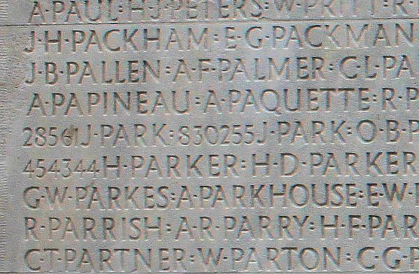 A. R. Parry's name on the Vimy Memorial