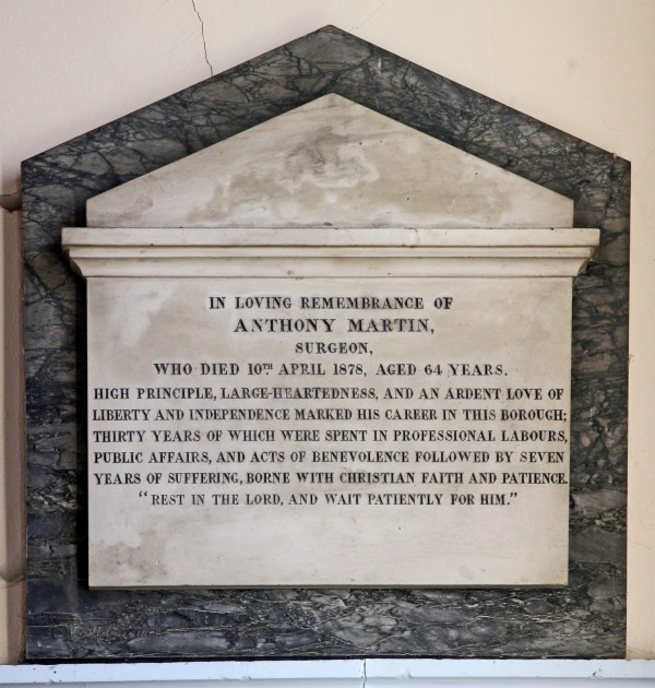 Anthony Martin tablet in Evesham Unitarian Chapel