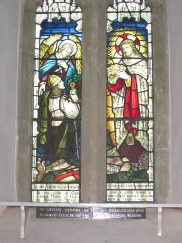 Stained glass window in Wickhamford Church installed in memory of Lt George Mason