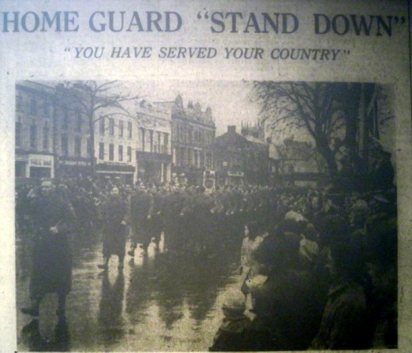 A rainy Stand Down Parade through Evesham High Street  - as printed in the Evesham Journal.
