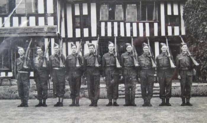 2. A section of the Broadway Company at Wickhamford Manor – from left to right, Sgt. Fred Barnard, Charlie Emer, Reg Knight, Joe Wheatley, Bill Sears, Bill Knight, Fred 'Clack' Wheatley, Bill Addis, George Addis and Jim Brailsford.