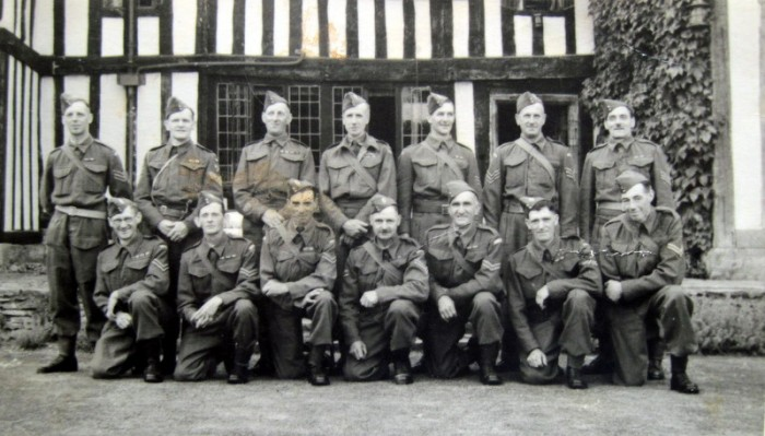 4. Lieut Horsfield (centre rear) with N.C.O.s of the Broadway Company  at Wickhamford Manor. In the front row, 3rd from the right is Sgt Frederick Taylor.