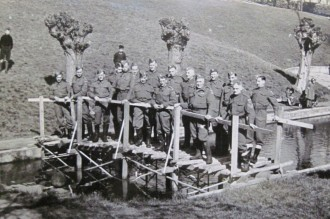 Pioneer Platoon on the completed bridge