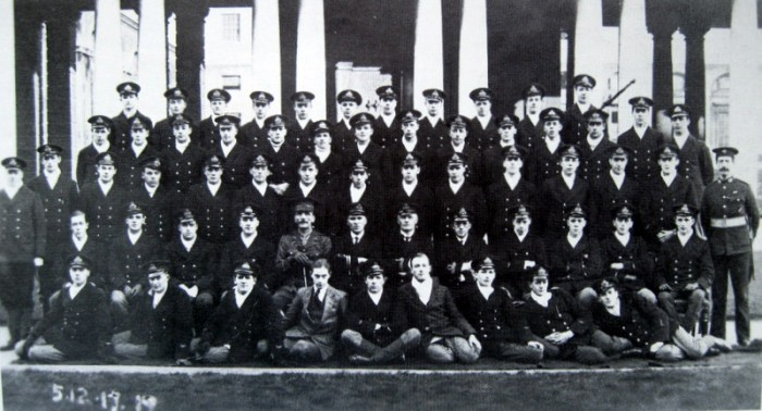 Leslie Poulter's intake at Greenwich, photographed on 18th November 1917.  He is in the back row, the third from the right.
