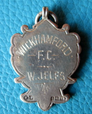 The silver medal awarded to William Jelfs after Wickhamford Albion won the Evesham Hospital Cup in the 1920/21 season.