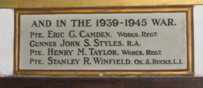 Tablet in Wickhamford Church to the soldiers who died in World War II