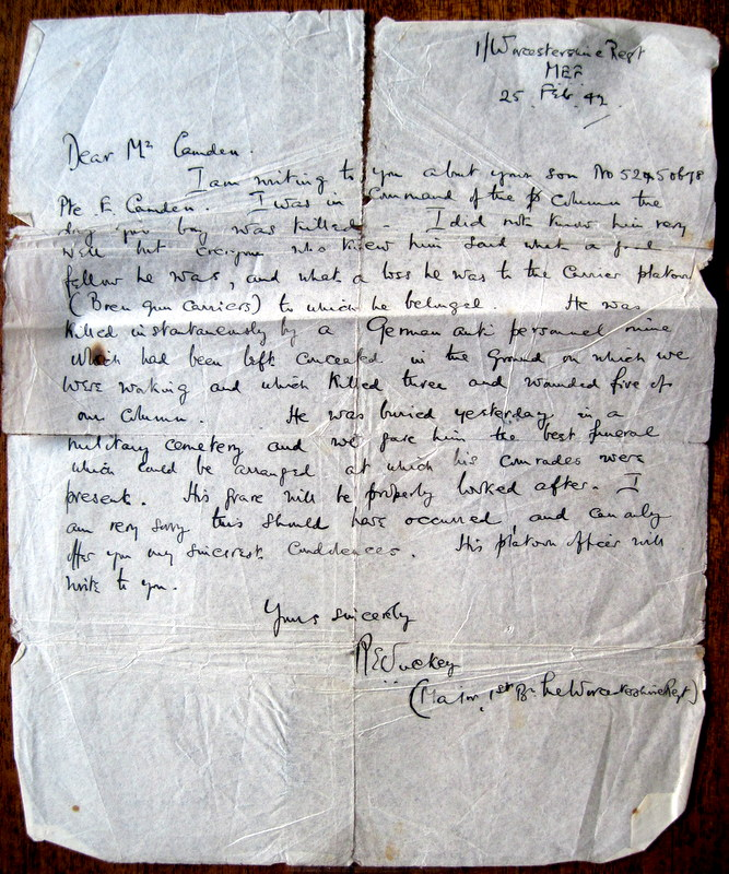 The letter sent to Eric Camden's father, explaining the circumstances of his son's death.  Reproduced by permission of Eric's brother, Brian Camden.