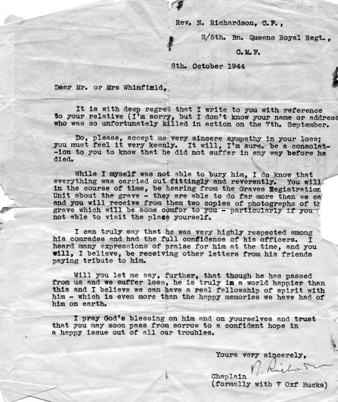 The letter of condolence sent to Stanley Winfield's parents by the former chaplain of his Battalion.